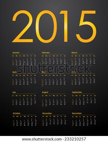Calendar for 2015 - stock photo