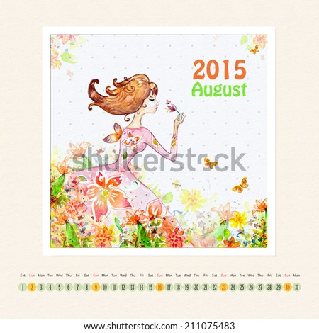 Calendar for august 2015 with girl, watercolor painting - stock photo