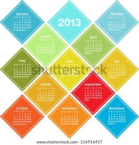 Calendar for 2013 in seasonal colors, weeks start on Sunday, raster version - stock photo