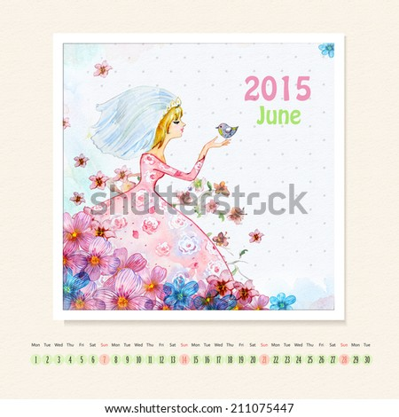 Calendar for june 2015 with girl, watercolor painting - stock photo