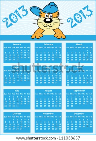 Calendar 2013 full year with cat cartoon character wearing baseball cap. Vector version also available. - stock photo