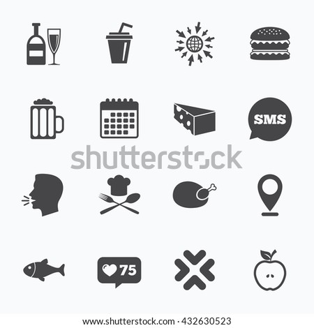 Calendar, go to web and like counter. Food, drink icons. Beer, fish and burger signs. Chicken, cheese and apple symbols. Sms speech bubble, talk symbols. - stock photo