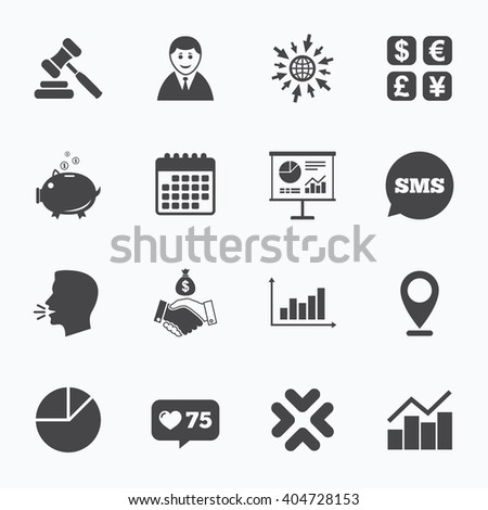 Calendar, go to web and like counter. Money, cash and finance icons. Handshake, piggy bank and currency exchange signs. Chart, auction and businessman symbols. Sms speech bubble, talk symbols. - stock photo