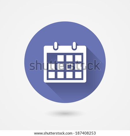 Calendar icon in a circular blue surround conceptual of time management  organization  schedule  appointments  and important events icon with shadow - stock photo