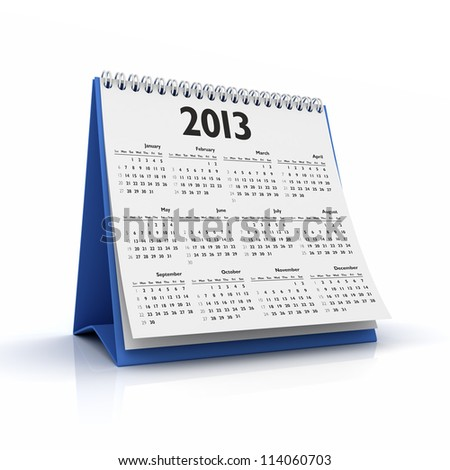 calendar 2013 in white background - stock photo