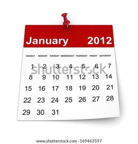 Calendar 2014 - January - stock photo