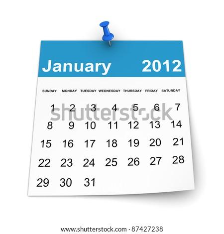 Calendar 2012 - January - stock photo