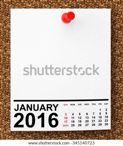 Calendar January 2016 on blank note paper with free space for your text - stock photo