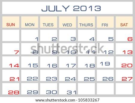calendar July 2013 - stock photo