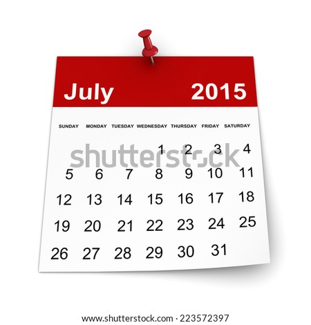 Calendar 2015 - July - stock photo