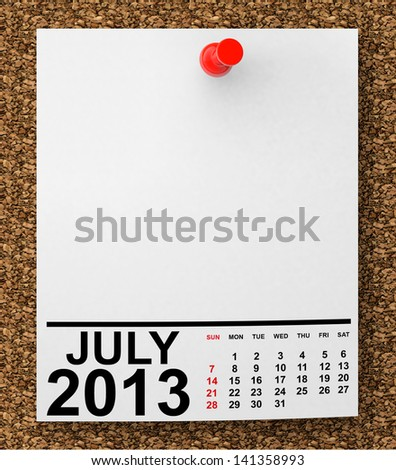 Calendar July 2013 on blank note paper with free space for your text - stock photo