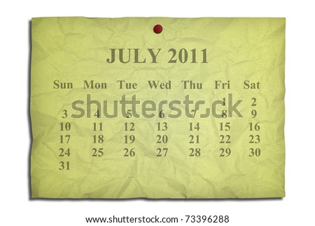 Calendar july 2011 on old Crumpled paper - stock photo