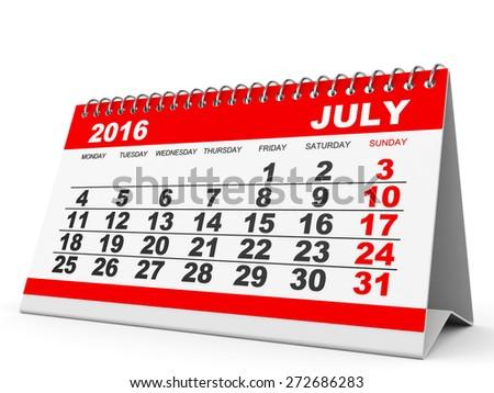 Calendar July 2016 on white background. 3D illustration. - stock photo
