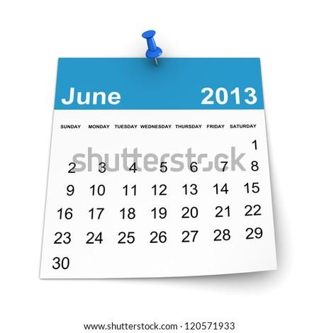 Calendar 2013 - June - stock photo