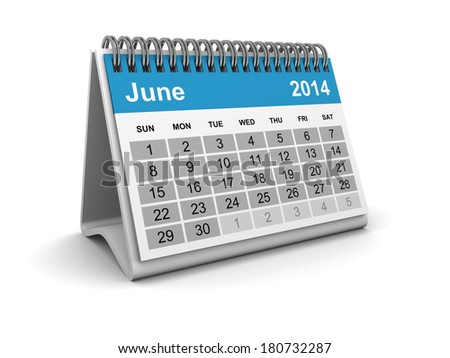 Calendar 2014 - June - stock photo