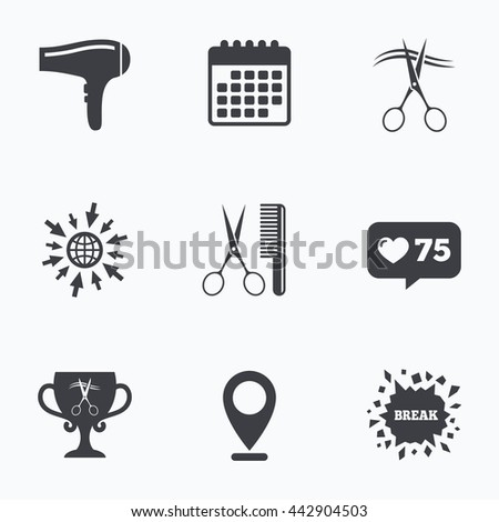 Calendar, like counter and go to web icons. Hairdresser icons. Scissors cut hair symbol. Comb hair with hairdryer symbol. Barbershop winner award cup. Location pointer. - stock photo