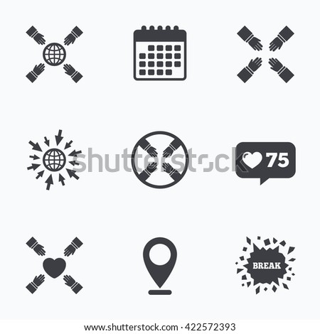 Calendar, like counter and go to web icons. Teamwork icons. Helping Hands with globe and heart symbols. Group of employees working together. Location pointer. - stock photo