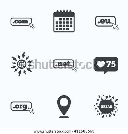 Calendar, like counter and go to web icons. Top-level internet domain icons. Com, Eu, Net and Org symbols with cursor pointer. Unique DNS names. Location pointer. - stock photo