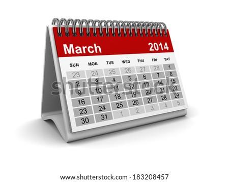 Calendar 2014 - March - stock photo