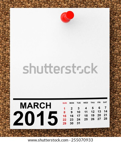 Calendar March 2015 on blank note paper with free space for your text - stock photo