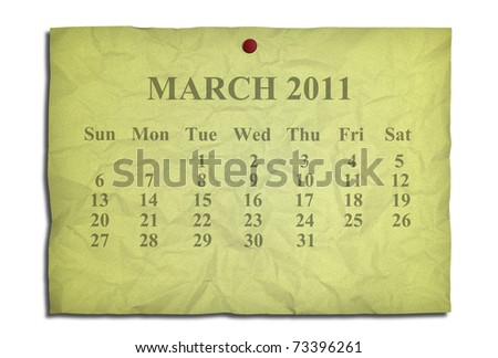 Calendar march 2011 on old Crumpled paper - stock photo