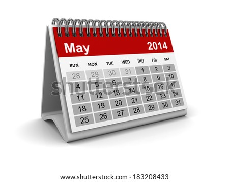 Calendar 2014 - May - stock photo