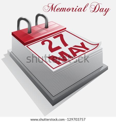 Calendar 27 May Memorial Day - stock photo