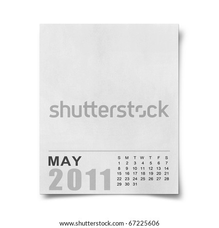 Calendar 2011 Note paper on white background.may - stock photo