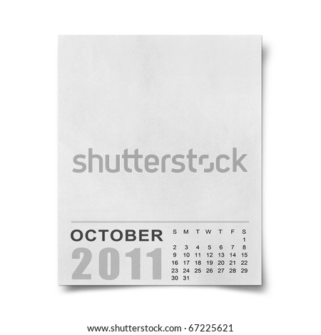 Calendar 2011 Note paper on white background.october - stock photo