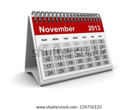 Calendar 2013 - November - stock photo