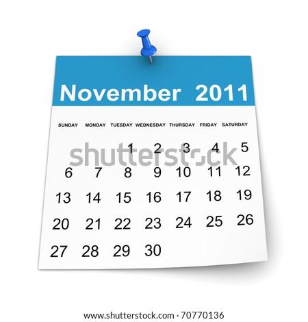 Calendar 2011 - November - stock photo