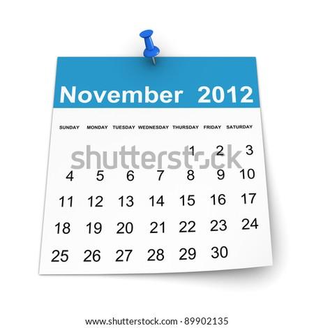 Calendar 2012 - November - stock photo