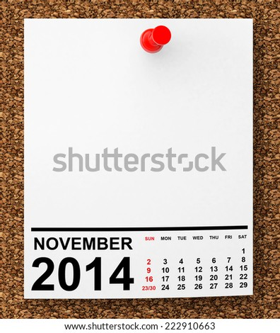 Calendar November 2014 on blank note paper with free space for your text - stock photo