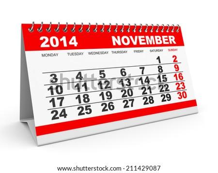 Calendar November 2014 on white background. 3D illustration. - stock photo