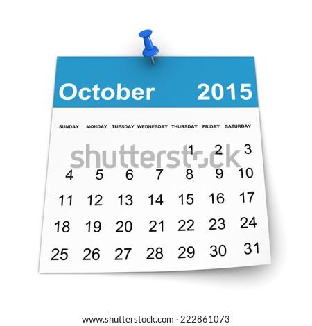 Calendar 2015 - October - stock photo