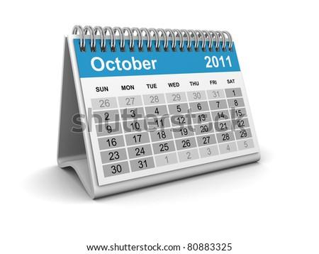 Calendar - October - stock photo