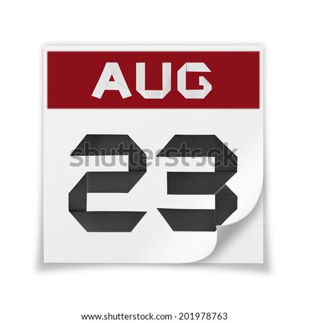 Calendar of August 23, on a white background. - stock photo