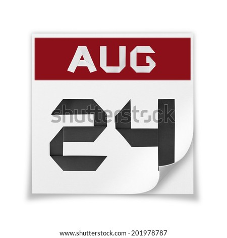 Calendar of August 24, on a white background. - stock photo