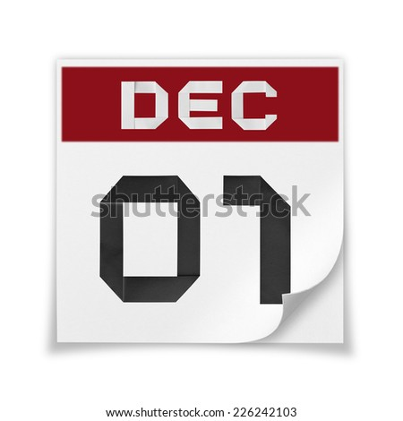 Calendar of December 1, on a white background. - stock photo