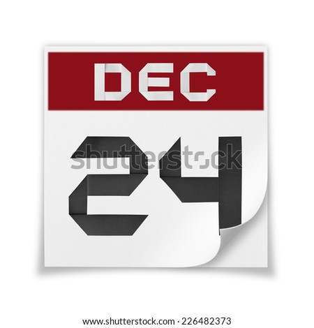 Calendar of December 24, on a white background. - stock photo