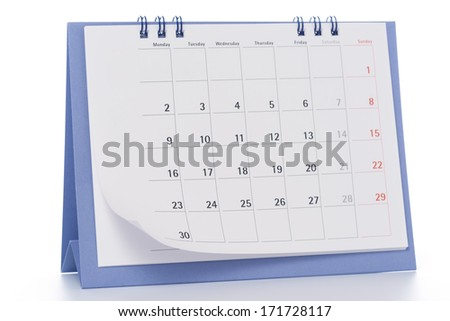 calendar on white background. - stock photo