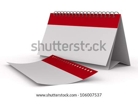 Calendar on white background. Isolated 3D image - stock photo