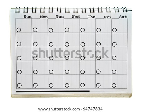 Calendar page of old spiral notebook isolated on white background - stock photo