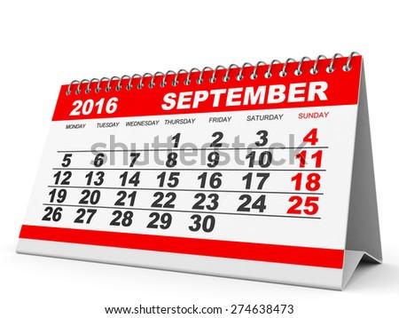 Calendar September 2016 on white background. 3D illustration. - stock photo