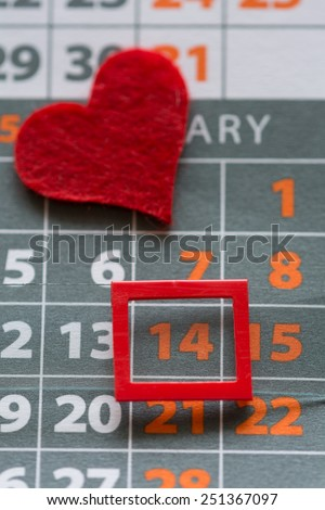 Calendar set to 14th February. Valentine's day concept - stock photo