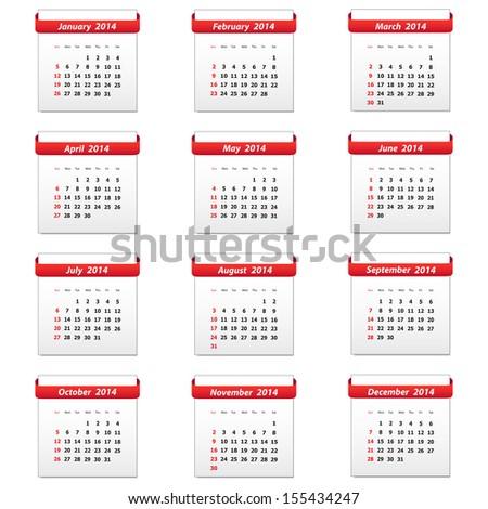 Calendar 2014. Vector available. - stock photo