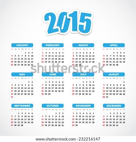 Calendar 2015. Vector available. - stock photo