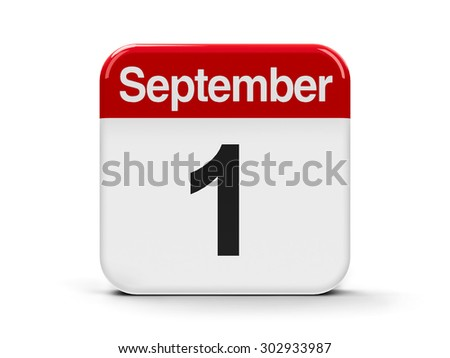 Calendar web button - First of September, three-dimensional rendering - stock photo