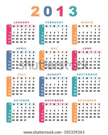 Calendar 2013 (week starts with sunday).  Raster version. - stock photo