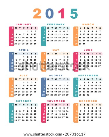 Calendar 2015 (week starts with sunday). Raster version. - stock photo